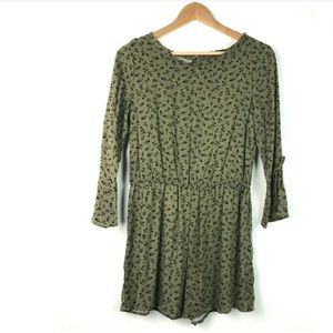 Art Class Girls Romper Long Sleeve Green Floral XL